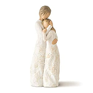 """Sentiment: """"Apart or together, always close to me"""" written on Enclosure Card 8""""h hand-painted resin standing figure of a older woman embracing younger girl, both in cream dresses carved with intertwined vines and leaves. Carved with intertwined vines..."""