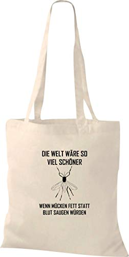 Shirtstown Shopping Bag Orgánico Zen, Shopper con Gran Frase el Mundo Wäre Mucho Hermoso, Wenn Mosquitos Grasa en vez de Blut Aspirar Würden - natural, 37 cm x 42 cm