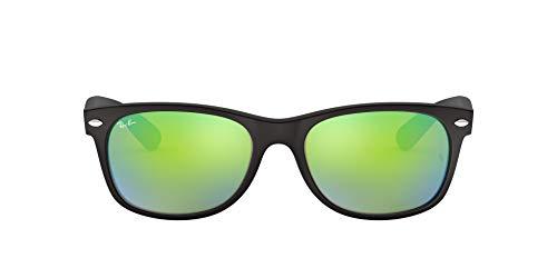 Ray-Ban Unisex New Wayfarer Sonnenbrille, Schwarz (Gestell: Schwarz, Gläser: Grün Flash 622/19), Large (Herstellergröße: 55)