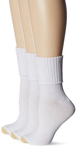 Gold Toe Women's Bermuda Socks, 3-Pairs, White, Medium