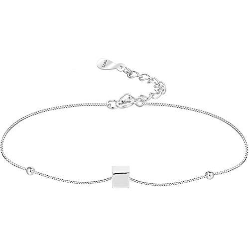 SSN Pulsera Cuadrada De Plata Esterlina Femenina Estudiante Diseño De Moda Perlas Geométrico Pequeña Silver Bean Joyería