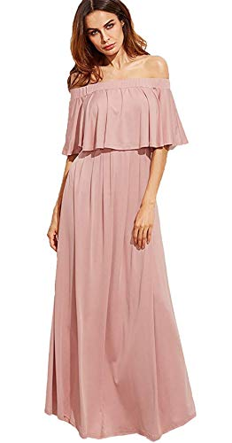 Milumia Women's Casual Off The Shoulder Layered Ruffle Party Wedding Bridesmaids Long Maxi Dress Pink X-Small