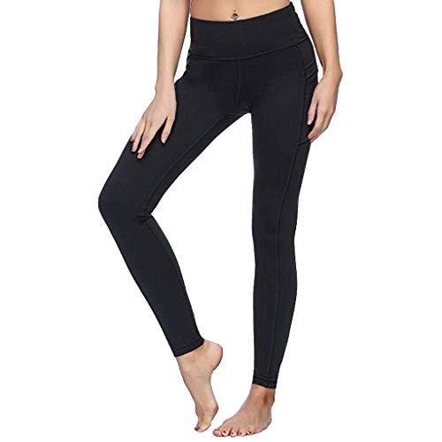 Tefamore-Pantalons de Yoga pour Femmes avec Poches Taille Haute Tummy Control Leggings Slim(Noir,Large)