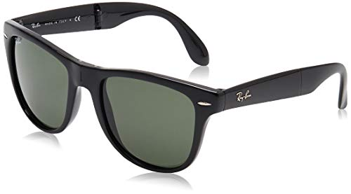 Ray-Ban Unisex Folding Wayfarer Sonnenbrille, Schwarz (Gestell: Schwarz, Gläser: Grün Klassisch 601), Large (Herstellergröße: 54)