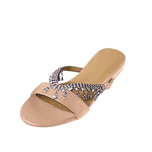 FNKDOR Fransen Strass Hausschuhe Damen Pantoletten Elegant Flache Sommer Schuhe Damen Slippers Beige 38
