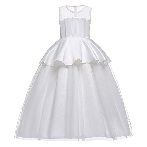 Mädchen Partykleid Mädchen Elegantes Brautjungfernkleid Ärmellose Perspektive Mesh Tüll Prinzessin Kleid Plissee Lang Eine Linie Hochzeit Schönheitskleid Partykleid Kinder Ball Ballkleid Blumenmädche