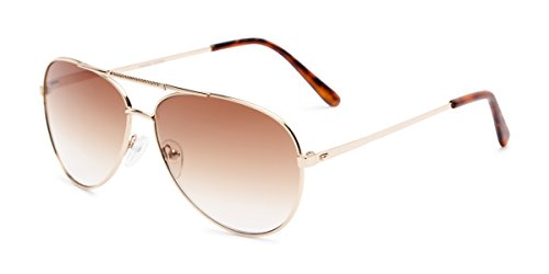 Readers.com Reading Sunglasses: The Conrad Reading Sunglasses Metal Aviator Style for Men and Women - Gold with Amber, 2.00