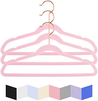 Premium Kids Velvet Hangers Pack of 50 14 Wide with Copper Rose Gold Hooks Space Saving Ultrathin product image