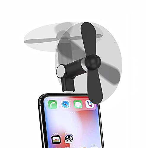 Aoiutrn Portable Mini Fan [180 Rotating] Small Cool Cooler Cell Phone Fan Compatible with iPhone 12 /11/12 Pro / Xs / Max / X / 8 / 8 Plus / 7 / 7 Plus / 6 / 6 Plus / iPod and Other Devices (Black)