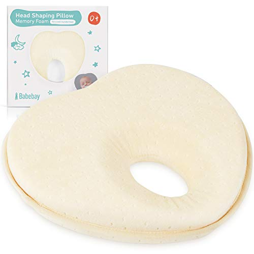 Baby Pillow for Newborn Infant,Head Shaping Pillow for Flat Head Syndrome Prevention,Ultra Soft Baby Head Pillow,3D Memory Foam for Head and Neck Support Pillow,Heart Shaped 0-12 Months (Yellow)