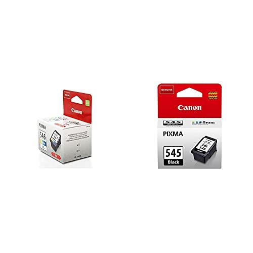 Canon CL-546XL Cartucho de Tinta Original Tricolor XL para Impresora de Inyeccion de Tinta Pixma, 13 ml + PG-545 Cartucho de Tinta Original Negro para Impresora de Inyeccion de Tinta Pixma