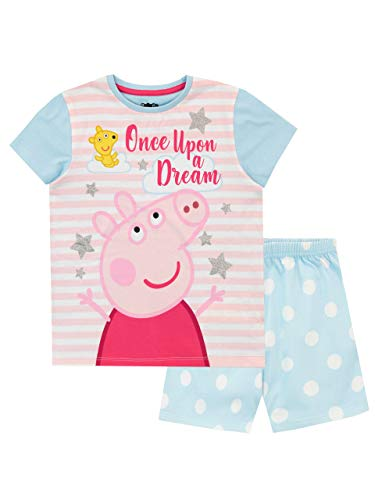 Peppa Pig Pijamas de Manga Corta para niñas Azul 3-4 Años