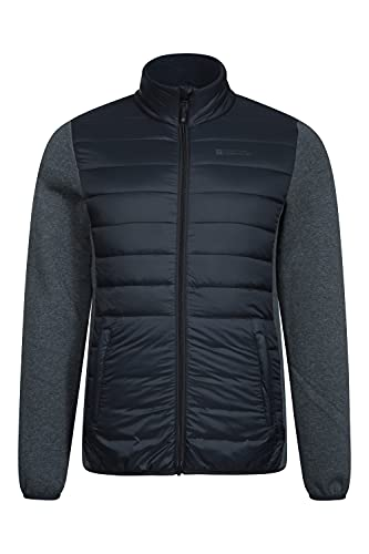 Mountain Warehouse Intrepid Hybrid Mens Padded Jacket - Warm, Lightweight, Breathable, Elasticated Cuffs & Hem Coat - Best for Camping, Outdoors, Travelling & Hiking Gris L