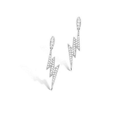 Orecchini, in argento rodiato 925/000 e ossido di zirconio, con Strass, Tonnerre lampo Lucidi, colore: bianco, da donna