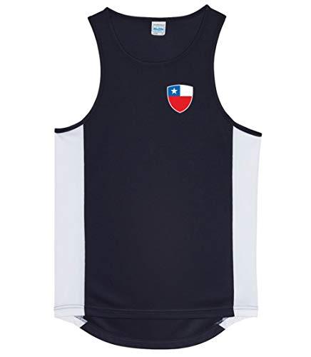Nation Chile ATH BR-SC - Camiseta sin mangas para deporte, Primavera-verano, Inserciones laterales en colores de contraste., Cuello redondo, Hombre, color Negro , tamaño S