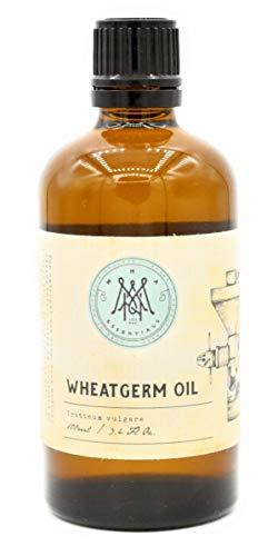 MNA Weizenkeimöl Kaltgepresst - 100ml - 100% natürliches Öl in Glas, mit Vitamin E, (Tocopherol) für Haarepflege, Hautfplege, Augenringe und als Basis für Massage öle