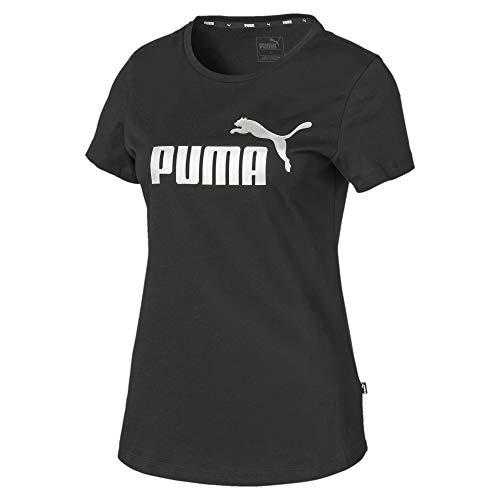 PUMA ESS+ Metallic tee Camiseta, Mujer, Negro, XS