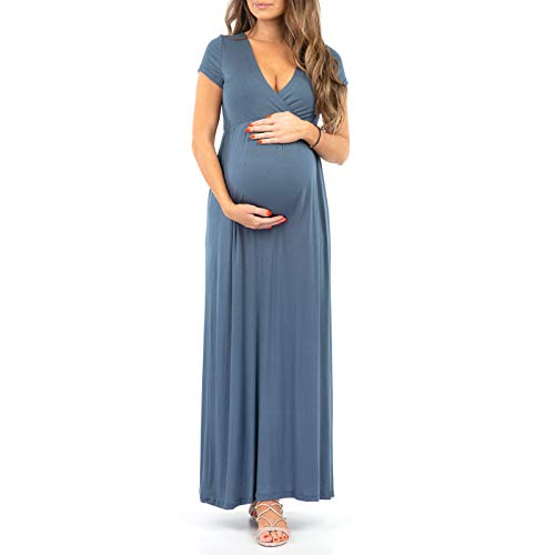 Mother Bee Maternity Women's Maternity Short Sleeve Dress - Made in USA (TealDenim, X-Large)
