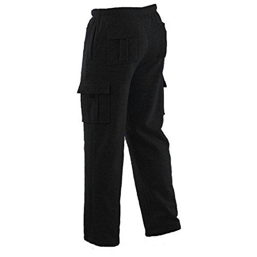 Winter Tex Mens Long Cargo Pants Sweatpants Truck Fleece Lined with Elastic Waistband, Fleeced Cargo Pants S-XXL (L, Black)