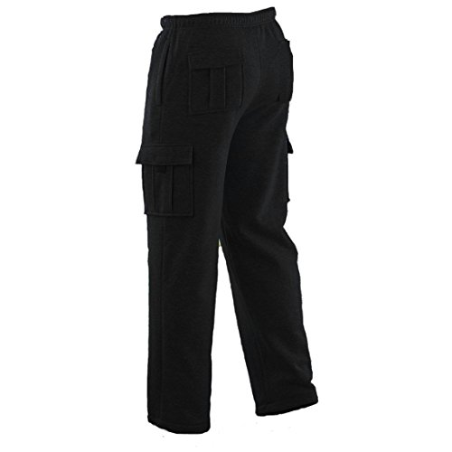 Winter Tex Mens Long Cargo Pants Sweatpants Truck Fleece Lined with Elastic Waistband, Fleeced Cargo Pants S-XXL (L, Black)