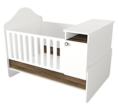 moebel17 6498 Lora Babybett mitwachsendes Kinderbett mit integrierter Wickelkommode, Fächer mit Stauraum, modern, Weiß Walnuss, 134 x 105 x 92 cm