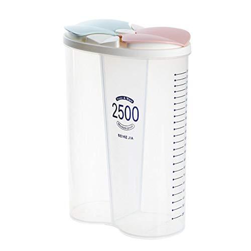 Yeswell 2.5L Luftdichte Vorratsbehälter, 2-Gitter Clear Vorratsdosen Frischhaltedosen Schüttdose, BPA Frei Versiegelte Aufbewahrungsbox, Luftdichte Lagerung Gläser für Lebensmittel (2-Gitter 2500ML)