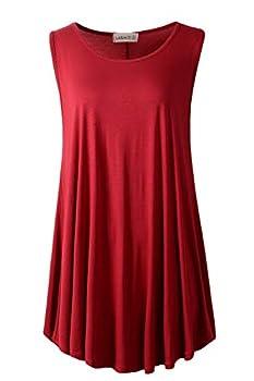 LARACE Women Solid Sleeveless Tunic for Leggings Swing Flare Tank Tops  1X Wine Red