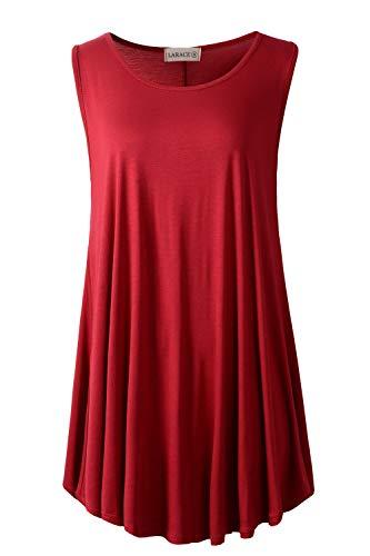 LARACE Women Solid Sleeveless Tunic for Leggings Swing Flare Tank Tops (2X, Wine Red)