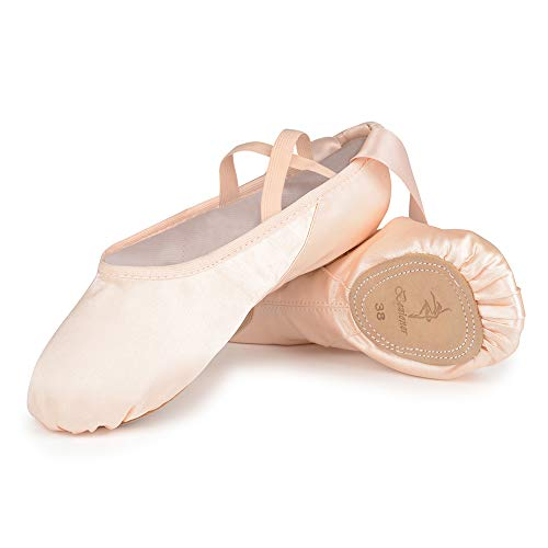 Satin Ballet Dance Shoes Split Leather Sole Pink Ballet Slippers Flats with Ribbon Gymnastics Shoes for Girls Women 28 EU=10.5 UK Child