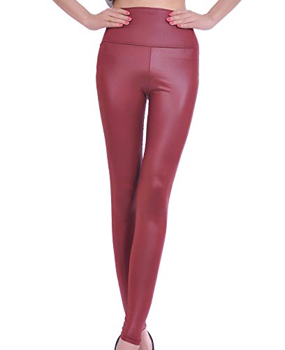 MrHappyDeal Kunstleder Leggings Damen Leggins | High Waist Lederimitat Leggins Damen Hose | Fake Leder Look LederLeggings schwarz matt, rot (leg_led_vielf)(M 36/38,Weinrot)