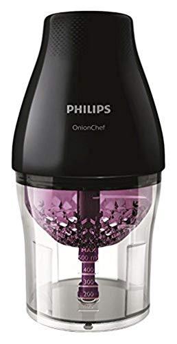 Philips Onion Chef HR2505/90 - Picadora, 500 W, 1.1 L, 2 Velocidades, Color Negro