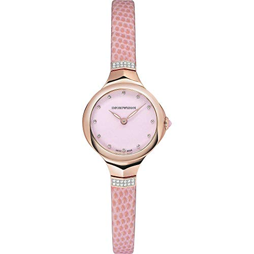 Emporio Armani Fluid Deco Analogue Quartz Watch with Pink Lizard Leather Strap for Women's ARS8151