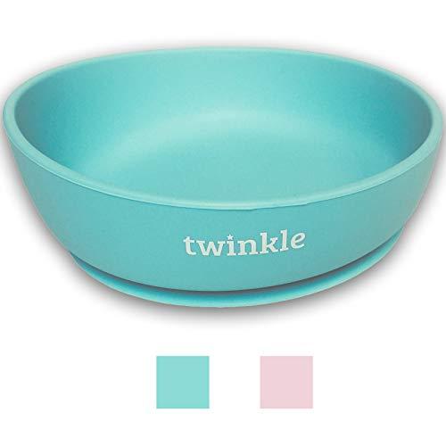 Twinkle - Magic Bowl - Bol de Silicona con Ventosa para Bebe - Plato Infantil Antideslizante con Succion para BLW y Aprendizaje Bebes (Azul)