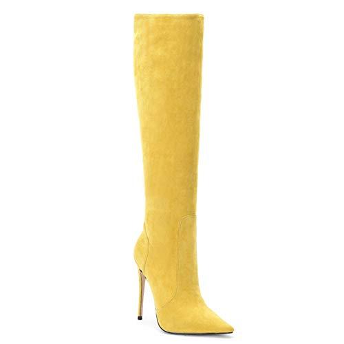 YQSHOES Wildleder Spitzen Schuhe Einfache Monochrome Hochhackige Gummistiefel Stiefel Damenstiefel,Gelb,38EU