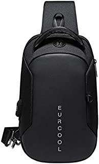 WANG AU Multi Function Crossbody Bags Men Chest Bag Water Repellent Shoulder Bag with USB Charging Port S(Black) (Color : Black)