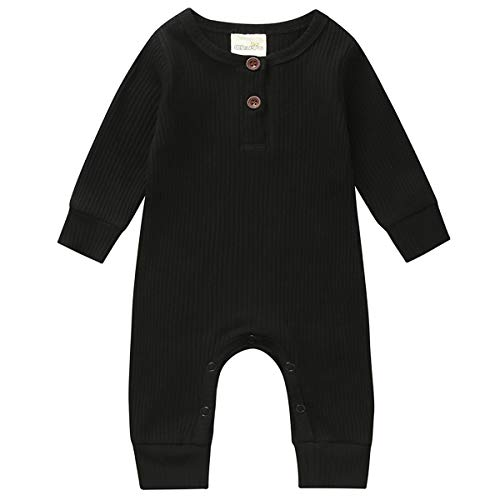 Kuriozud Newborn Infant Unisex Baby Boy Girl Button Solid Romper Bodysuit One Piece Jumpsuit Outfits Clothes (Long Sleeve one Piece Black, 0-3 Months)