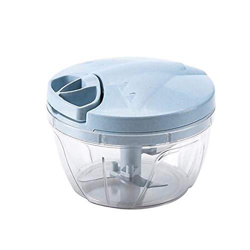 強化版 家庭用 みじん切り器 ふたも洗える 肉カッター スーパ 泡立て付き保存蓋 泡立て付き 5枚刃 (青, 640ml)