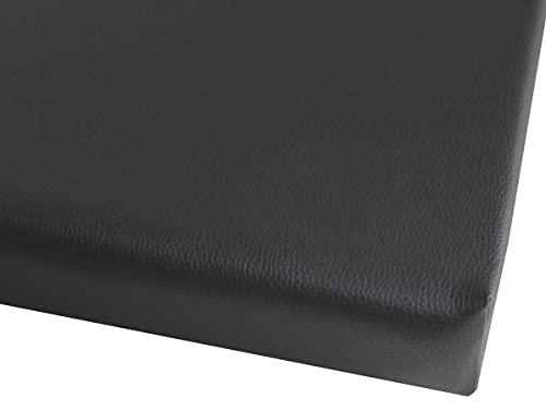 IDEALES hochwertiges Sitzkissen Stuhlkissen Bankkissen für Haus und Garten aus Kunstleder (schwarz mit Nappaprägung)