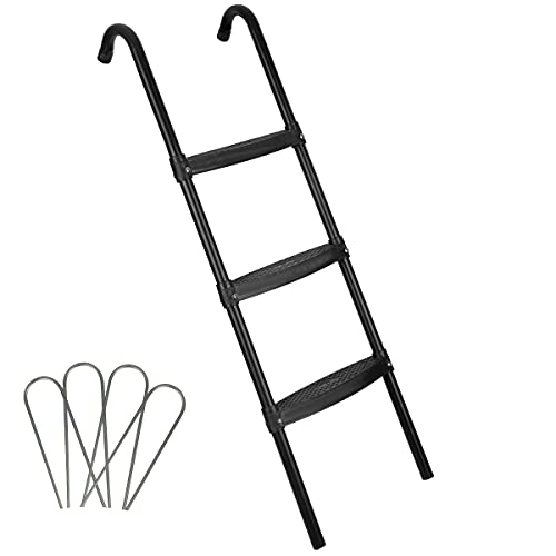 HLOFIZI Trampoline Ladder Universal for 14ft 15 ft, Kids Trampoline Stairs 3 Steps, 41 Inch, with Wind Stakes