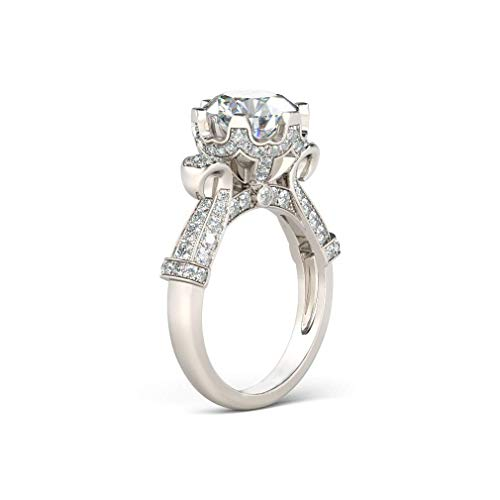 LONAGO 1.5ct Moissanite Ring for Wedding 925 Sterling Silver Halo Anniversary Engagement Promise Ring for Women (O)