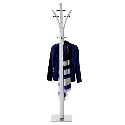 IDIMEX Garderobenständer Kleiderständer 9 Kleiderhaken Metall, weiß lackiert, Fuß mit Edelstahlblech