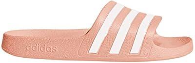 adidas Women's Adilette Aqua Sandal, White/dust Pink, 8 M US