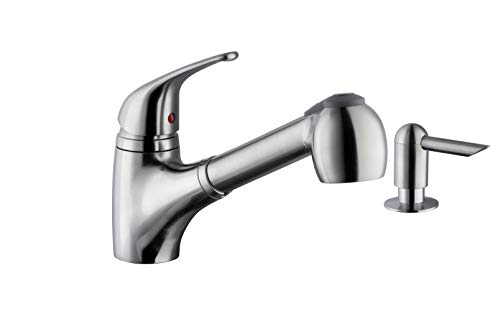 Soleil SS5828 Stainless Steel Pull Out Single Handle Kitchen Faucet in Brushed Nickel with Soap Dispenser