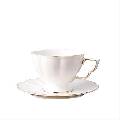 YUNLIN Bone China Espressotasse Untertasse Gold Gestreift Weiße Keramikblume Teetasse Untertasse Nachmittagstasse 150Ml