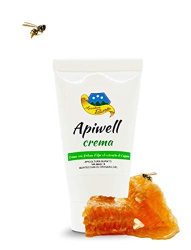 Crema Apiwell que contiene veneno de abeja y extracto de cáscara, especialmente indicada para contrarrestar dolores articulares y musculares de diversos género.