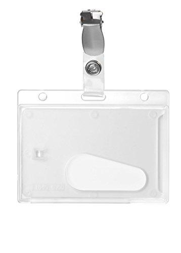 Karteo® Ausweishülle transparent mit Clip und Daumenausschub horizontal aus Plastik Hartplastik Polycarbonat für 1 eine Karte für Ausweise Kreditkarten Dienstausweise EC Karten Bankkarten Gesundheitskarten (54 x 86 mm) geeignet auch als Ausweishüllen Kartenhülle Kartenhüllen Ausweishalter Kartenhalter Halter