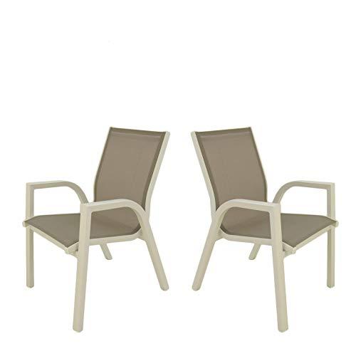 Edenjardi Pack 2 sillones de Exterior apilables, Tamaño: 56x66x90 cm, Aluminio Doble Reforzado Color Blanco, Textilene Color taupé