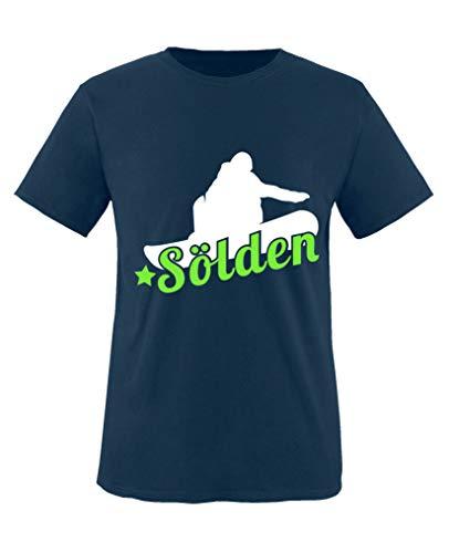 Comedy Shirts - Soelden Snowboard - Jungen T-Shirt - Navy/Weiss-Neongrün Gr. 110/116