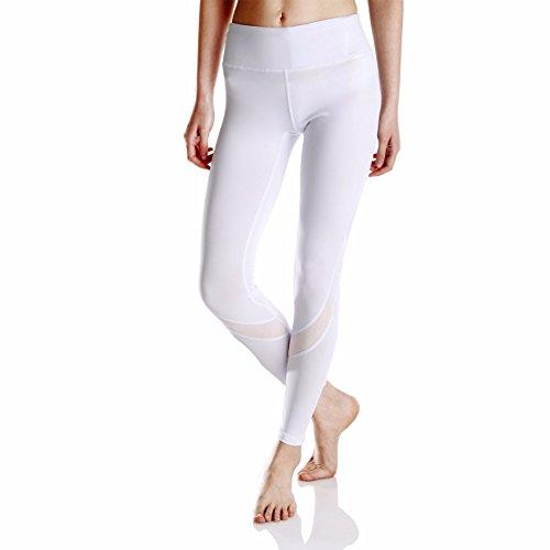 KIWI RATA Women Sports Mesh Trousers Athletic Gym Workout Fitness Waist Capris Yoga Pants Running Leggings White