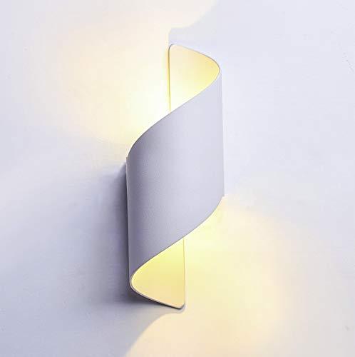 LED Modern Wandleuchten 12W/ Up &Down Wandlampe,Außenwandlampen,Aluminiumgehäuse/3000k Warmweiß, IP65 Wasserdichte,Innen/Aussen (Weiß+3000K)